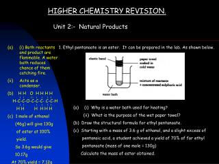 HIGHER CHEMISTRY REVISION .
