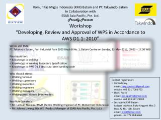 "Workshop ""Developing, Review and Approval of WPS in Accordance to AWS D1.1: 2010"""