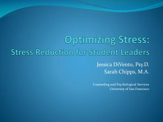 Optimizing Stress: Stress Reduction for Student Leaders