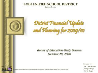 District Financial Update  and Planning for 2009/10