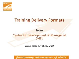 Training Delivery Formats from