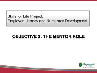 Skills for Life Project:  Employer Literacy and Numeracy Development