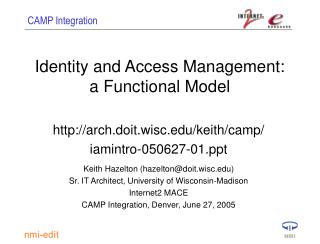 Identity and Access Management: a Functional Model