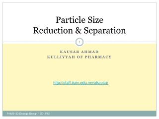 Particle Size Reduction & Separation