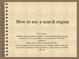 How to use a search engine