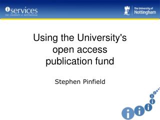 Using the University's  open access  publication fund