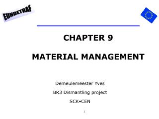 CHAPTER 9 MATERIAL MANAGEMENT