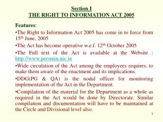 Section I THE RIGHT TO INFORMATION ACT 2005