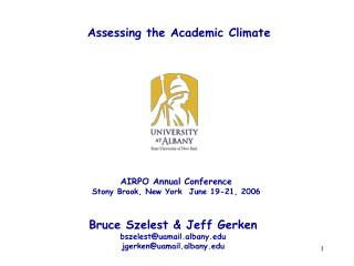 Assessing the Academic Climate