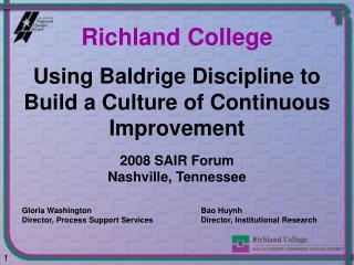 Using Baldrige Discipline to Build a Culture of Continuous Improvement