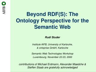 Beyond RDF(S): The Ontology Perspective for the Semantic Web