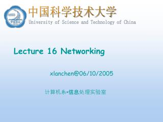 Lecture 16 Networking