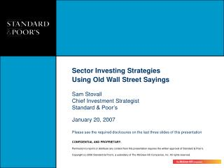 Sector Investing Strategies Using Old Wall Street Sayings