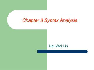 Chapter 3 Syntax Analysis