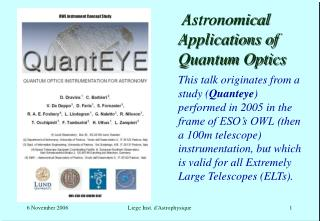 Astronomical Applications of Quantum Optics