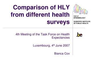 Comparison of HLY from different health surveys