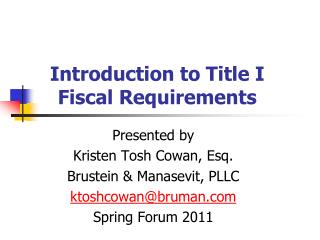 Introduction to Title I Fiscal Requirements