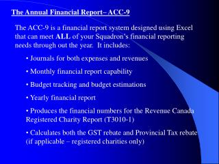 The Annual Financial Report– ACC-9