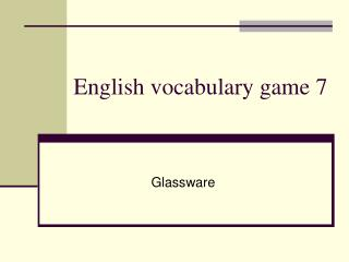 English vocabulary game 7