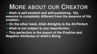 More about our Creator