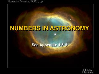 NUMBERS IN ASTRONOMY