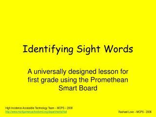 Identifying Sight Words