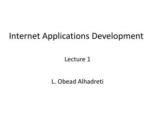 Internet Applications Development