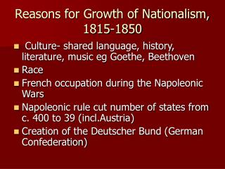 Reasons for Growth of Nationalism, 1815-1850