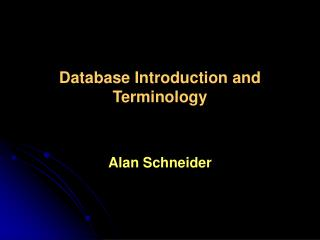 Database Introduction and Terminology