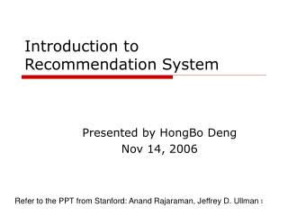 Introduction to  Recommendation System