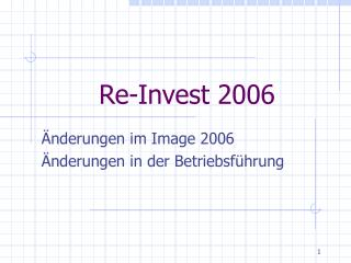 Re-Invest 2006