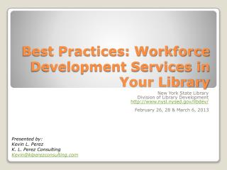 Best Practices: Workforce Development Services in Your Library