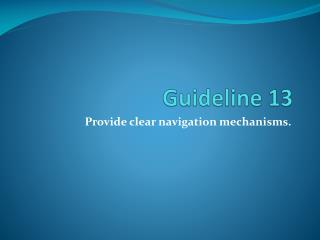 Guideline 13