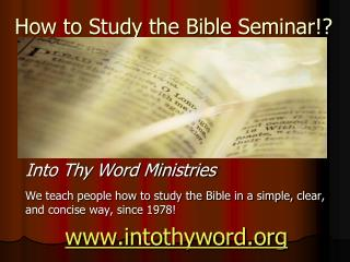 How to Study the Bible Seminar!?