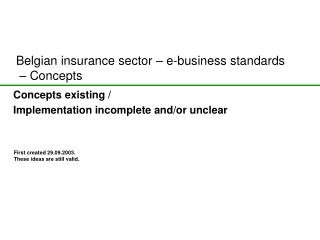 Belgian insurance sector – e-business standards  – Concepts