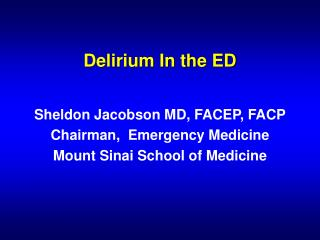 Delirium In the ED