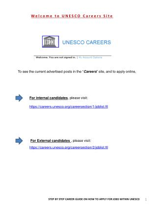 Welcome  to UNESCO  Careers  Site