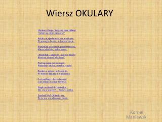 Ppt Wiersz Okulary Powerpoint Presentation Free Download