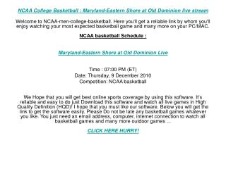 NCAA College Basketball : Maryland-Eastern Shore at Old Domi