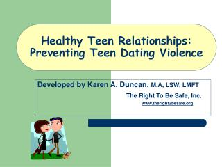 Healthy Teen Relationships: Preventing Teen Dating Violence
