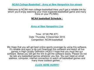 NCAA College Basketball : Army at New Hampshire live stream