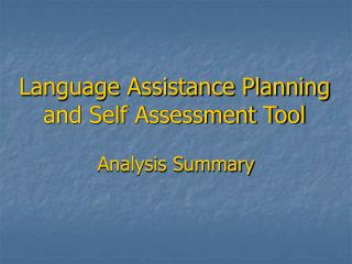 Language Assistance Planning and Self Assessment Tool