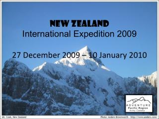 NEW ZEALAND International Expedition 2009