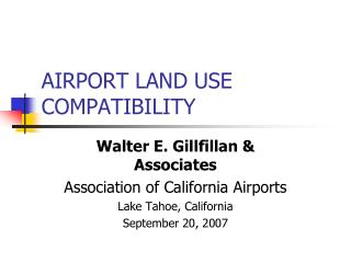 AIRPORT LAND USE COMPATIBILITY