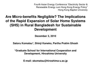 Are Micro-benefits Negligible The Implications of the Rapid Expansion of Solar Home Systems SHS in Rural Bangladesh for