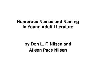 Humorous Names and Naming in Young Adult Literature