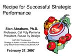 Recipe for Successful Strategic Performance