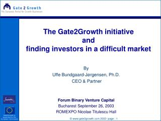 The Gate2Growth initiative and  finding investors in a difficult market