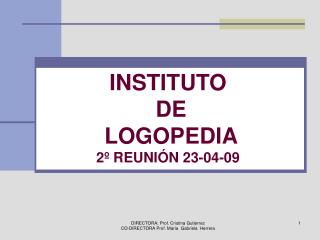 INSTITUTO  DE   LOGOPEDIA 2º REUNIÓN 23-04-09