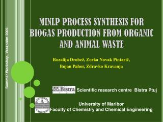 MINLP PROCESS SYNTHESIS FOR BIOGAS PRODUCTION FROM ORGANIC AND ANIMAL WASTE